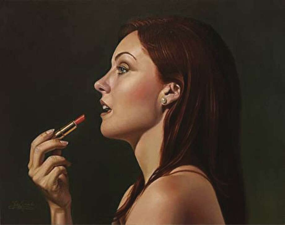 "An oil painting by Gary Hernandez titled ""Lipstick,"" which won a ""Fine Art Views Top 15 percent (Jury's Favorite 15 percent) award in the April 2018 Bold Brush Painting competition."