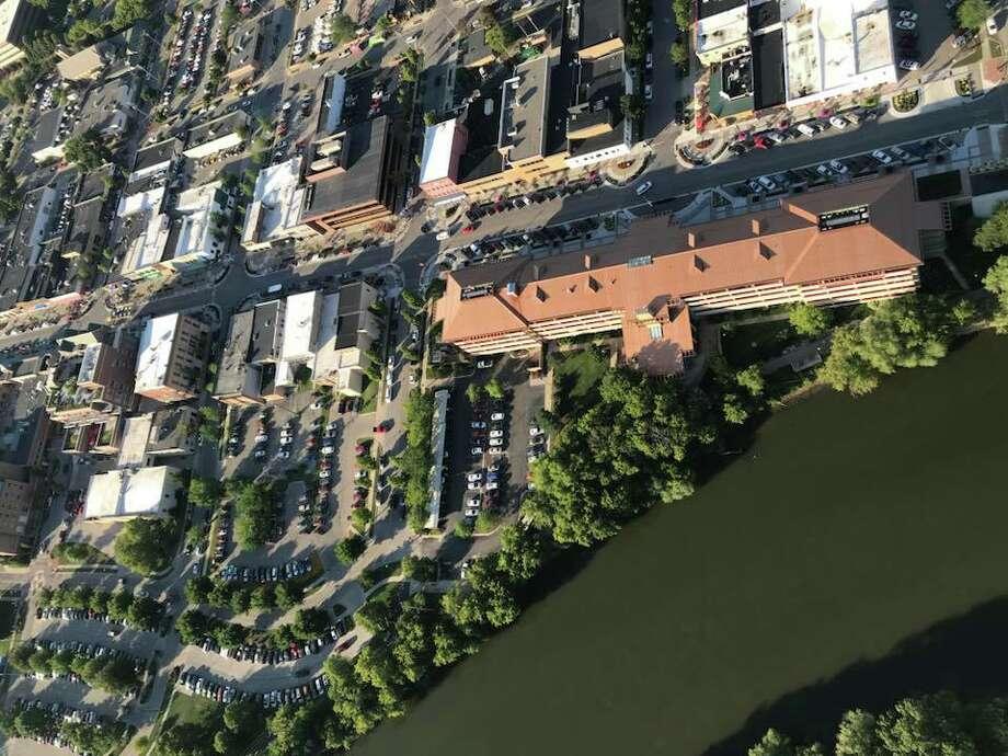 An aerial shot of Main Street in Midland. Photo: Kate Carlson