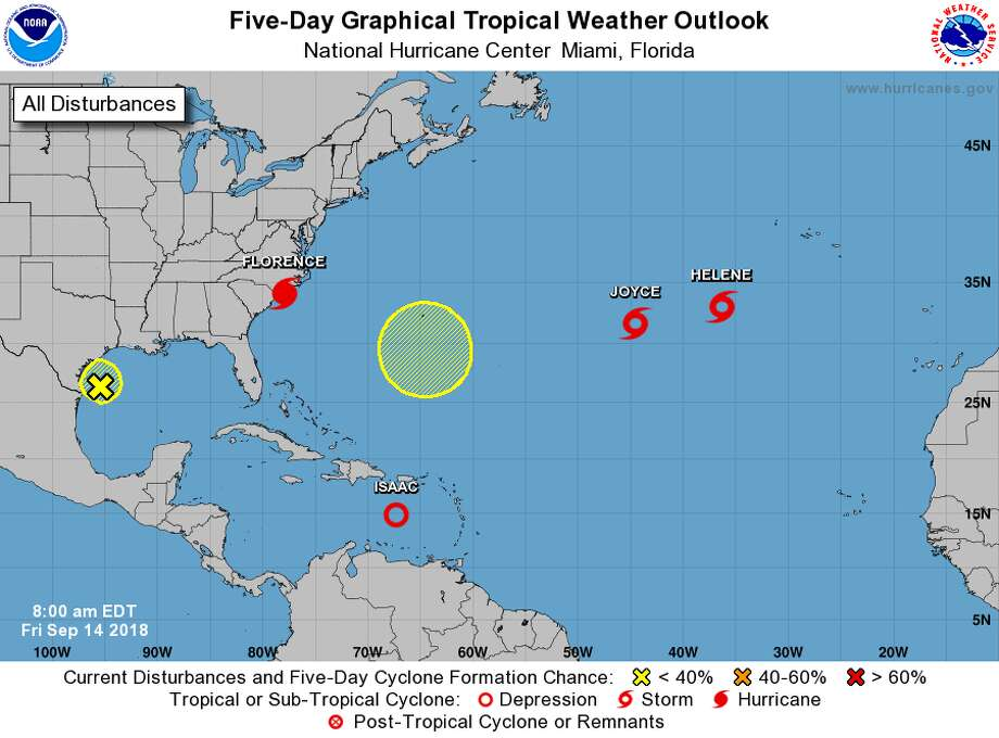 This is the current five-day outlook dated Friday morning from the National Hurricane Center with Joyce and Helene floundering in the Atlantic. Photo: NOAA