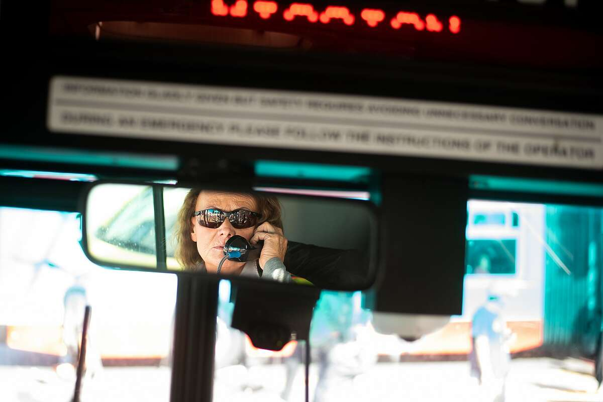 Michelle Moore drives Muni's 22-Fillmore route on Thursday, Sept. 13, 2018, in San Francisco