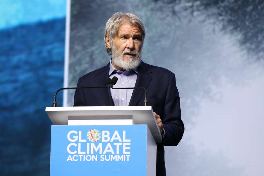 Actor Harrison Ford addresses a crowd at the Global Climate Action Summit in San Francisco on Sept. 13, 2018. Photo: Courtesy Global Climate Action Summit