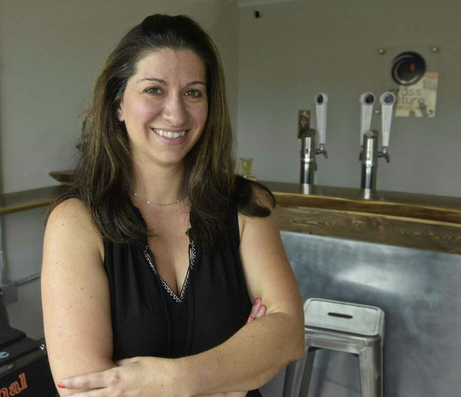 Liz Ceppos in the new Cross Culture Kombucha taproom in Danbury. Wednesday, September 12, 2018, in Danbury, Conn. Photo: H John Voorhees III / Hearst Connecticut Media / The News-Times