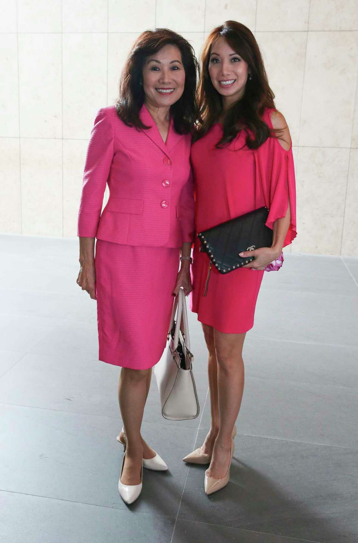 Betty Gee, left, and Tammy Su pose for a photograph at the Women in Culinary Arts Luncheon at Asia Society Texas Center on Thursday, Sept. 13, 2018, in Houston.