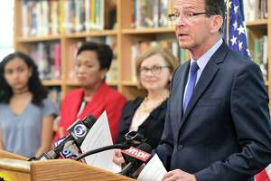 (Peter Hvizdak - New Haven Register) Governor Dannel P. Malloy and State Department of Education Commissioner Dianna R. Wentzell announced during a press conference at Hillhouse High School Monday morning, April 1, 2017 that graduation rates in the state reached an all-time high during the 2016 school year.