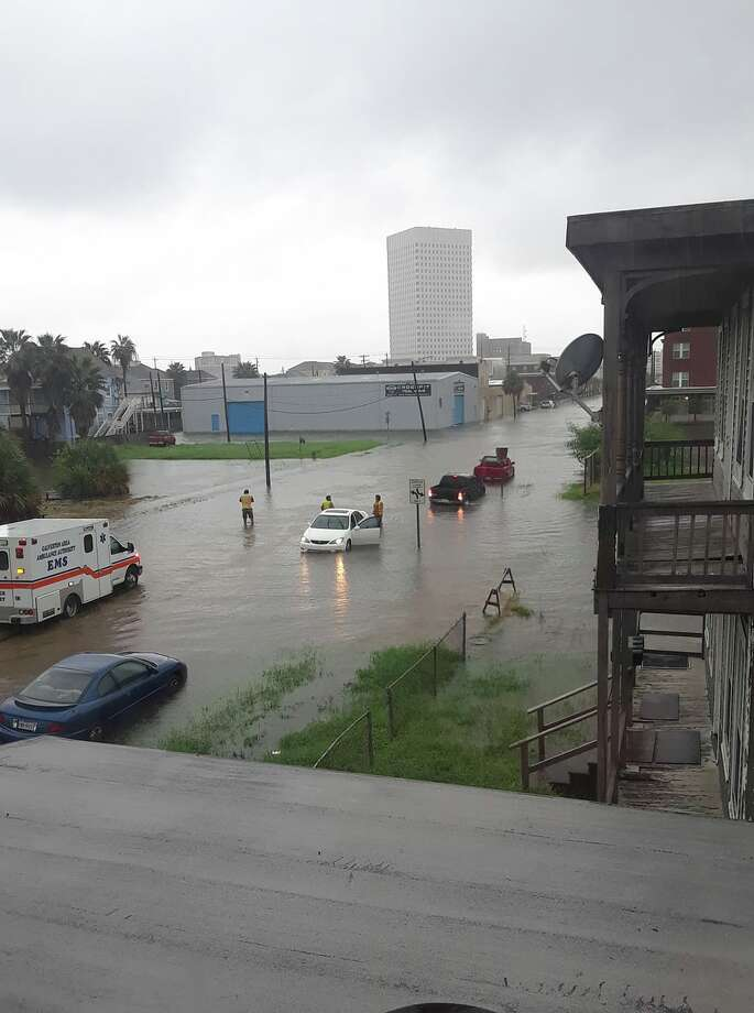 The streets of Galveston were flooded with up to two feet of water on Friday. Photo: Courtesy Of Cory Scott