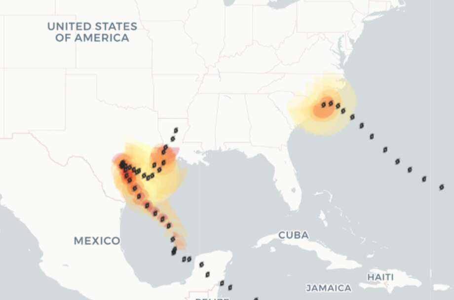PHOTOS: How Hurricane Florence stacks up against Harvey  The map compares the wind reach of Hurricane Harvey to the initial and forecast wind radii of Hurricane Florence. Yellow represents a wind value of 34 knots, or tropical storm force winds at; orange represents a wind value of 50 knots, or storm force winds; and red represents a wind value of 64 knots, or hurricane force winds, according to the National Hurricane Center. >>> See photos that show the size and intensity of both Hurricane Harvey and Hurricane Florence  Photo: Rachael Gleason/Houston Chronicle