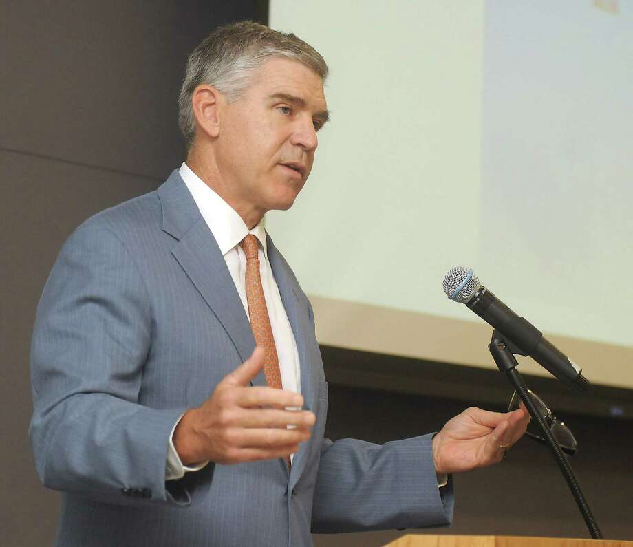 Paul Hobby speaks at the Cyber Transform cyber security conference at the University of Houston Downtown Friday Sept.14, 2018.(Dave Rossman photo) Photo: Dave Rossman, Contributor / 2018 Dave Rossman