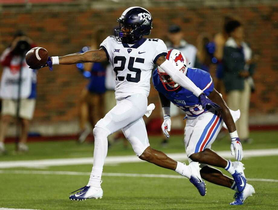 TCU wide receiver KaVontae Turpin (25) scores a touchdown after a catch against SMU during the fourth quarter of an NCAA college football game Friday, Sept. 7, 2018, in Dallas. (AP Photo/Jim Cowsert) Photo: Jim Cowsert, Associated Press / Copyright 2018 The Associated Press. All Rights Reserved.