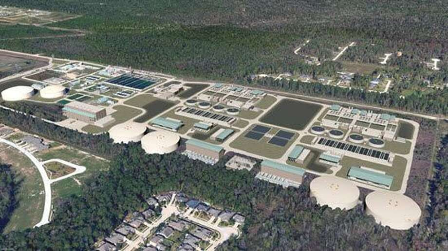An artist rendering shows the expanded Northeast Water Purification Plant near Lake Houston expected to be completed in 2024. Photo: Courtesy Of Greaterhoustonwater.com / Courtesy Of Greaterhoustonwater.com