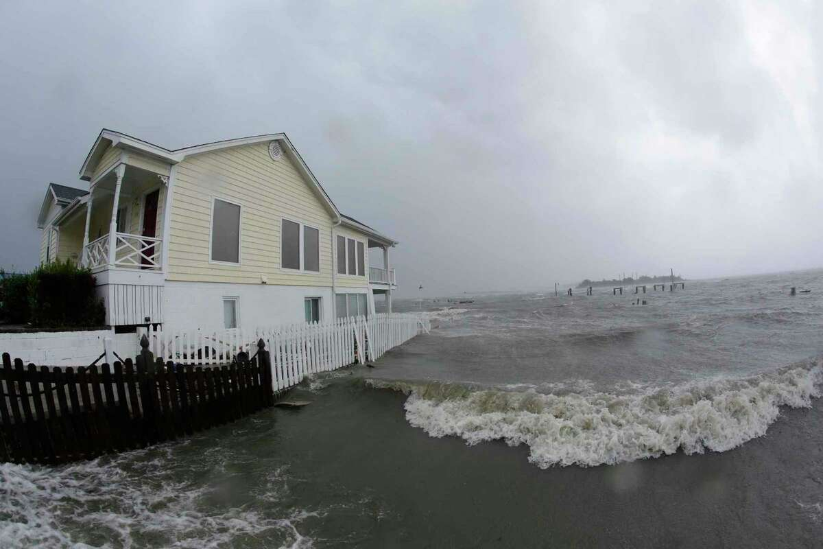 High winds and water surround a house as Hurricane Florence hits Swansboro N.C., Friday, Sept. 14, 2018.