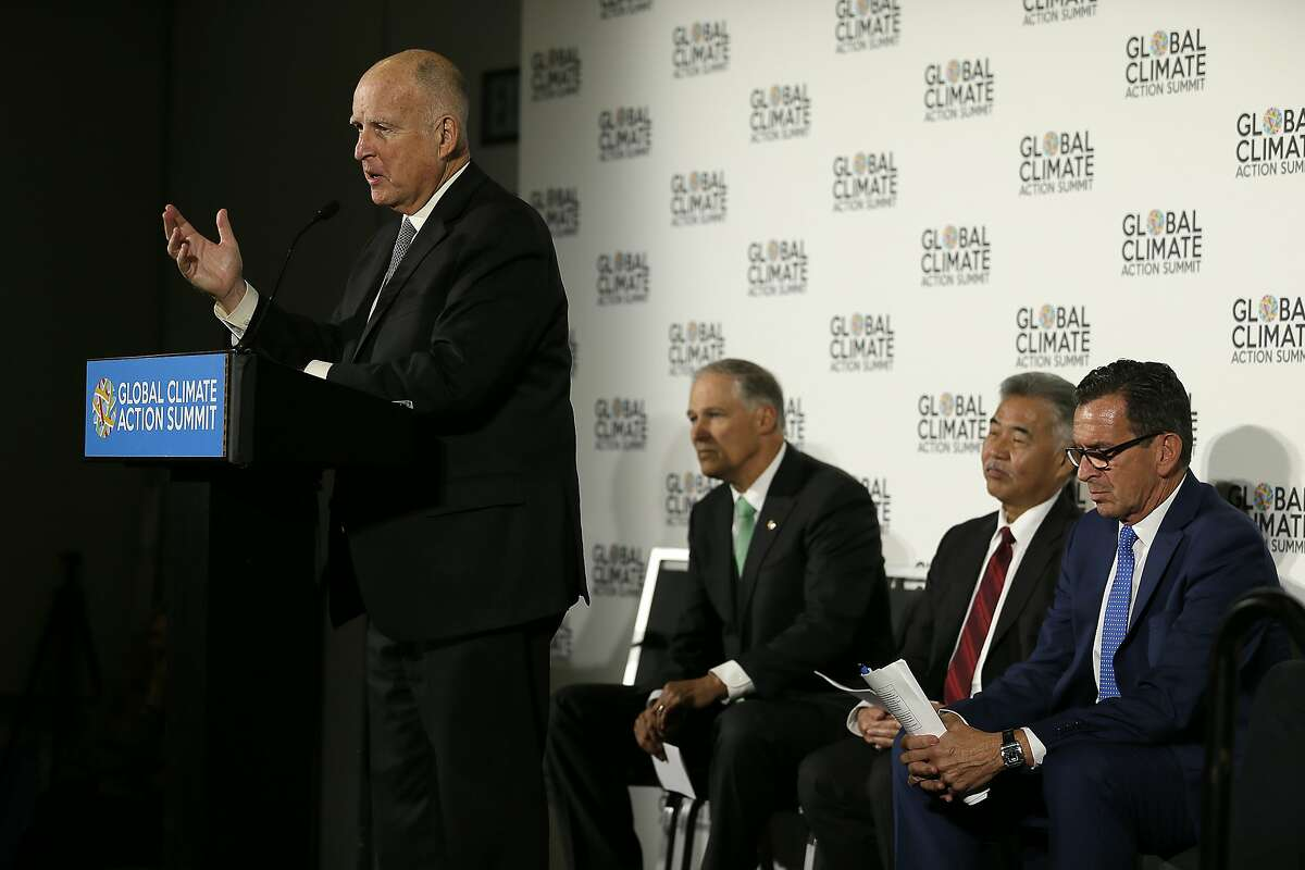 California Gov. Jerry Brown speaks at a news conference during the Global Action Climate Summit Thursday, Sept. 13, 2018, in San Francisco.