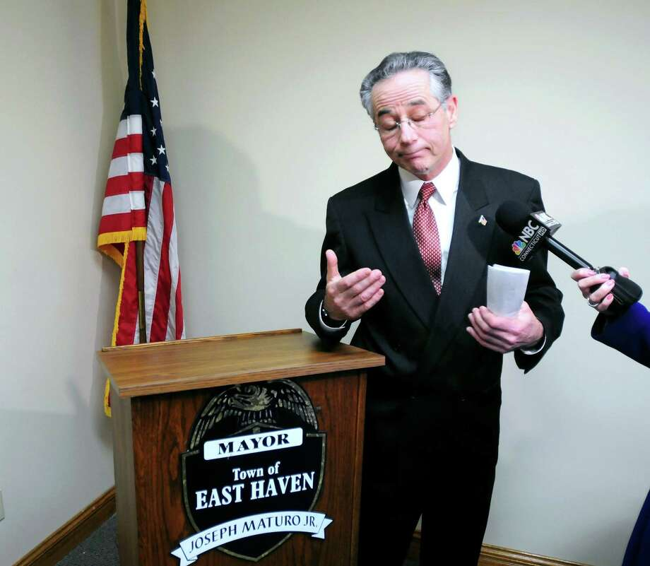 East Haven Mayor Joseph Maturo Jr. apologizes in his Town Hall office in January 2012  for his statement the day before concerning tacos. Photo: Hearst Connecticut Media File