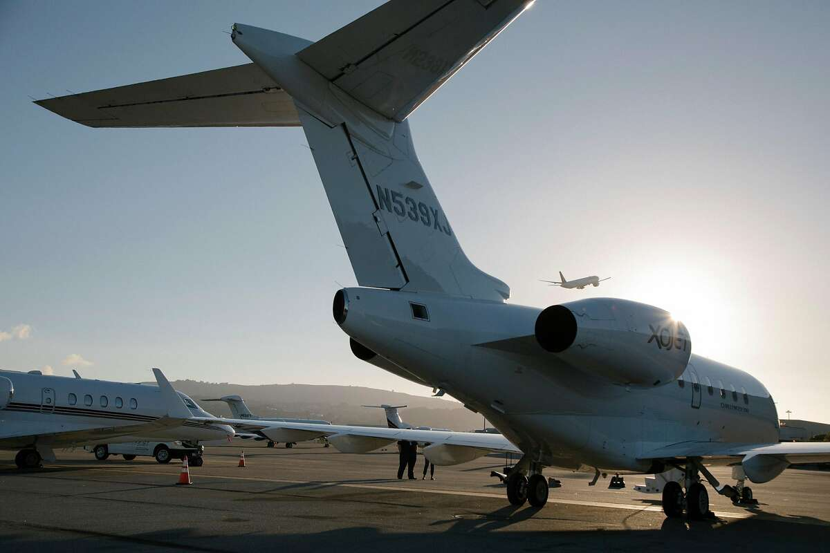 An XOJet Bombardier 300 aircraft, at San Francisco International Airport, Aug. 9, 2018. Tours for high-schoolers picking a college are a growing segment for the luxury travel industry, although some experts think the extra coddling could be an admissions detriment. (Jason Henry/The New York Times)
