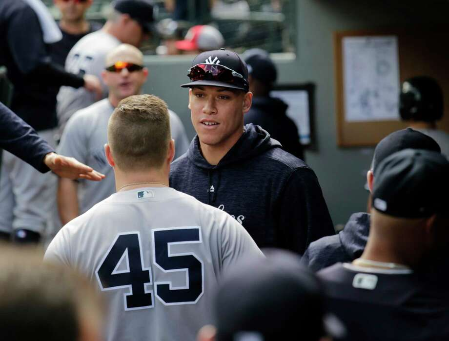 New York Yankees' Aaron Judge in the dugout before a baseball game against the Seattle Mariners, Sunday, Sept. 9, 2018, in Seattle. (AP Photo/John Froschauer) Photo: John Froschauer, Associated Press / Copyright 2018 The Associated Press. All rights reserved