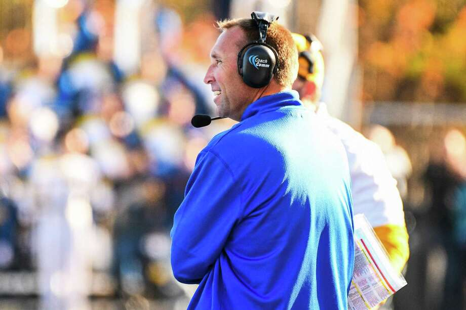 Coach Chris Pincince and the New Haven football team take on Southern Connecticut State on Saturday with the Elm City Trophy on the line. Photo: University Of New Haven / © 2015 Clarus Studios Inc.