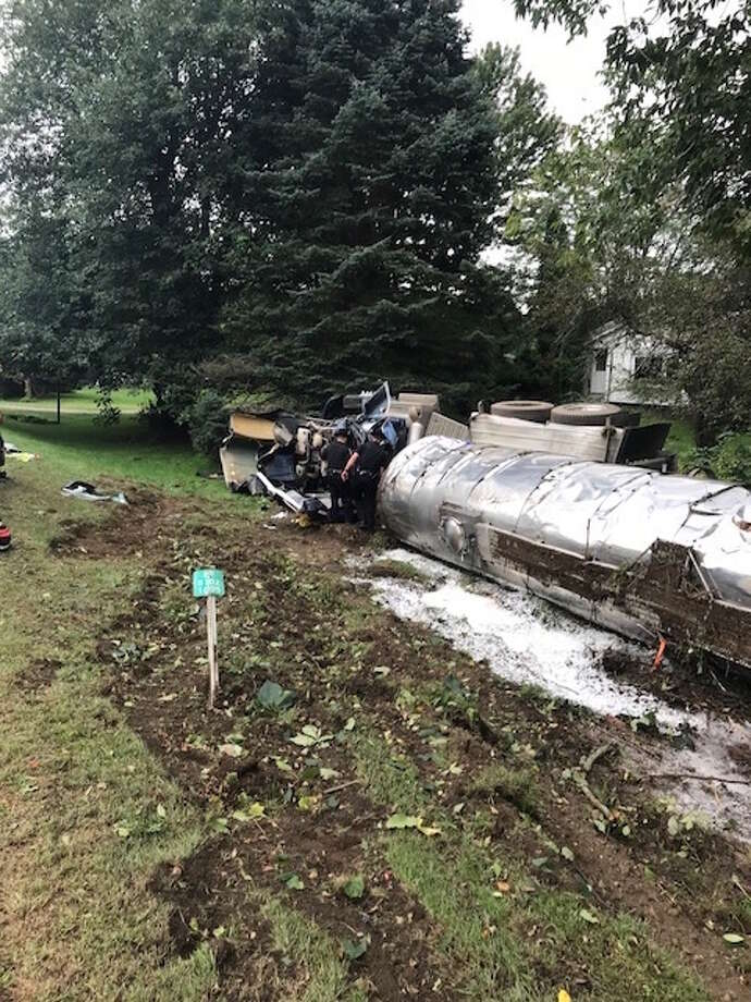 A milk tanker truck overturned on Route 82 in Ancram on Friday afternoon. Photo: Columbia County Sheriff's Office