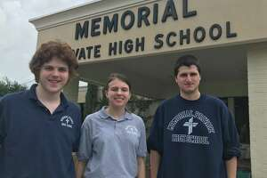 Students of Memorial Private High School. Left to right. Tristan Kiehn, 15. Michelle Pakel, 18. Andrew Sparks, 19.