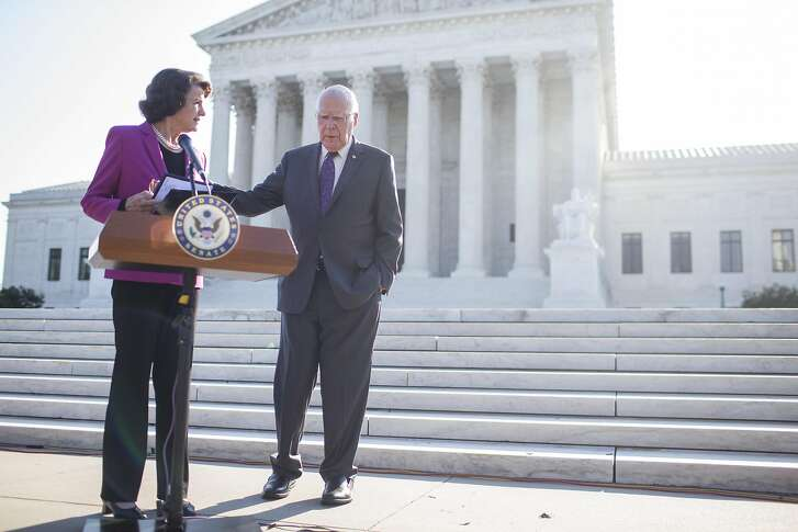 WASHINGTON, DC - SEPTEMBER 04: Senate Judiciary Committee Ranking Member Senator Dianne Feinstein (D-CA) speaks to Sen. Patrick Leahy (D-VT) following a news conference denouncing the White House's withholding of documents on Supreme Court Nominee Brett Kavanaugh outside of the U.S. Supreme Court on September 4, 2018 in Washington, DC.  (Photo by Zach Gibson/Getty Images)