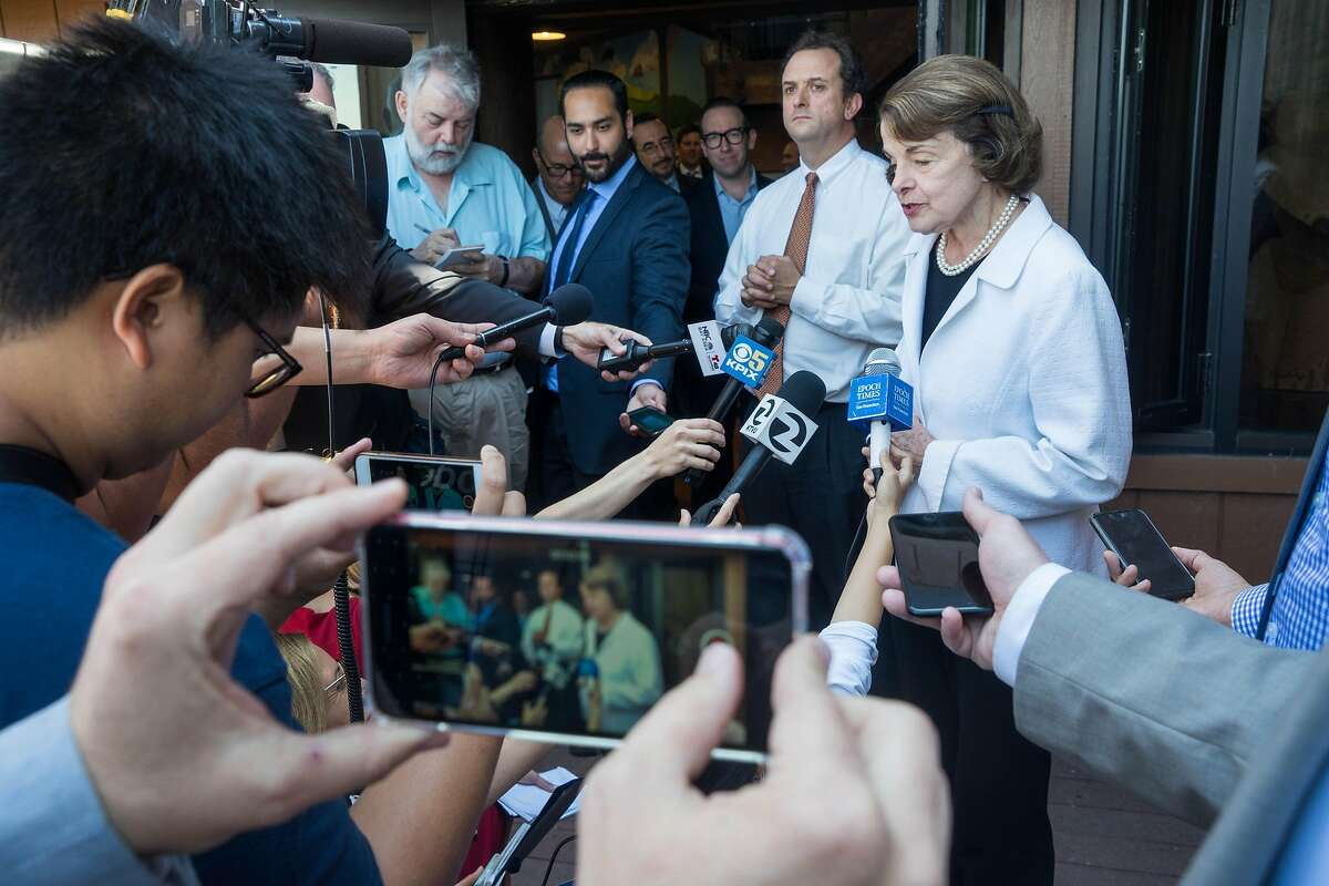 Senator Dianne Feinstein addresses members of the press at the Don Edwards San Francisco Bay National Wildlife Refuge Environmental Center in Alviso, Calif. on Friday, Aug. 10, 2018. $117 million has been secured for the South San Francisco Bay Shoreline Project to protect communities from flooding.