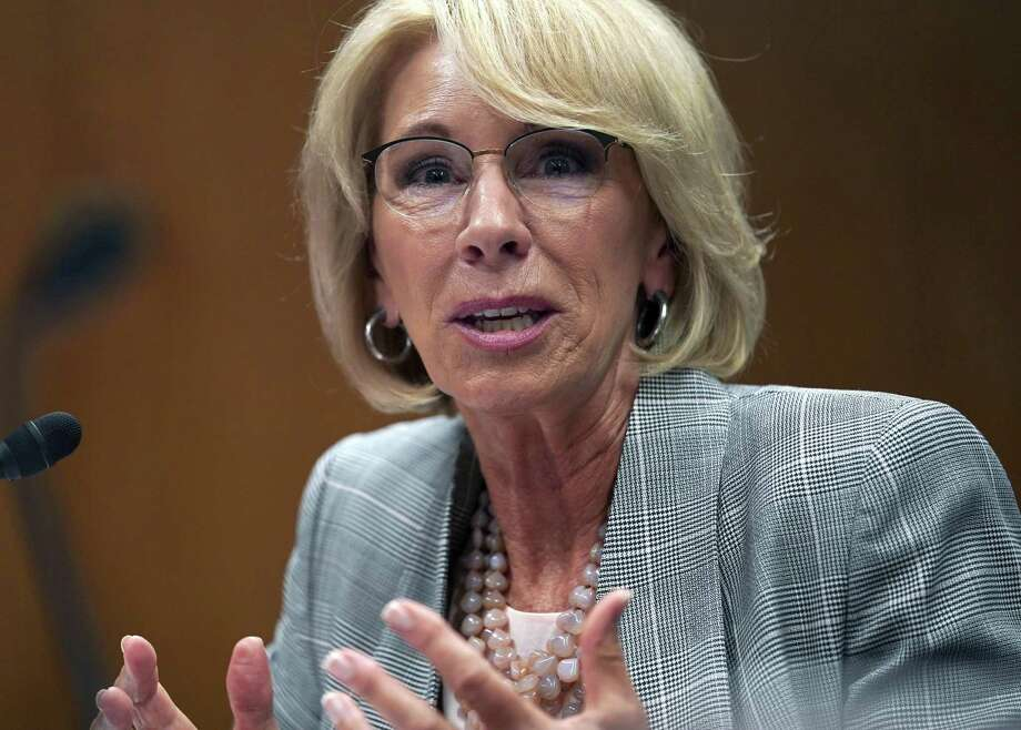 In this June 5, 2018, file photo, Education Secretary Betsy DeVos testifies during hearing on the FY19 budget on Capitol Hill in Washington. A federal court has ruled that a decision by DeVos to delay an Obama-era rule meant to protect students swindled by for-profit colleges was arbitrary and capricious, dealing a significant blow to the Trump administrations attempt to ease regulations for the industry. Photo: Carolyn Kaster /Associated Press / Copyright 2018 The Associated Press. All rights reserved.
