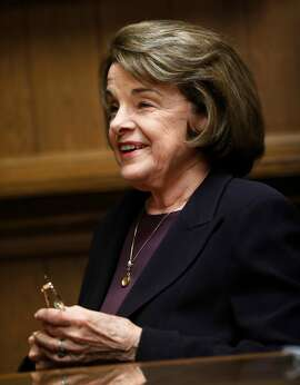 United States' Senator Dianne Feinstein talks to the San Francisco Chronicle Editorial Board in San Francisco, Calif., on Tuesday, April 3, 2018.