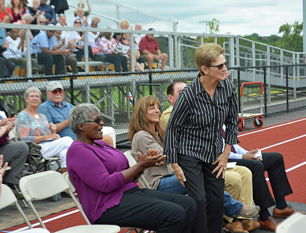 PatKidneyField at Woodrow Wilson Middle School was dedicated Friday afternoon. The $78 million project was a year-and-a-half-long undertaking by the 21st Century Parks Committee and public works staff. Among those honored at the ceremony were Lucille Gecewicz, Edward Collins, Harold