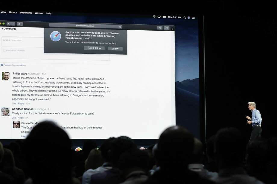 "In this June 4, 2018, photo Craig Federighi, Apple's senior vice president of Software Engineering, speaks during an announcement of new products at the Apple Worldwide Developers Conference in San Jose, Calif. Facebook and other companies routinely track your online surfing habits to better target ads at you. Two web browsers now want to help you fight back in what's becoming an escalating privacy arms race. New protections in Apple's Safari and Mozilla's Firefox browsers aim to prevent companies from turning ""cookie"" data files used to store sign-in details and preferences into broader trackers that take note of what you read, watch and research on other sites. Photo: Marcio Jose Sanchez /Associated Press / Copyright 2018 The Associated Press. All rights reserved."