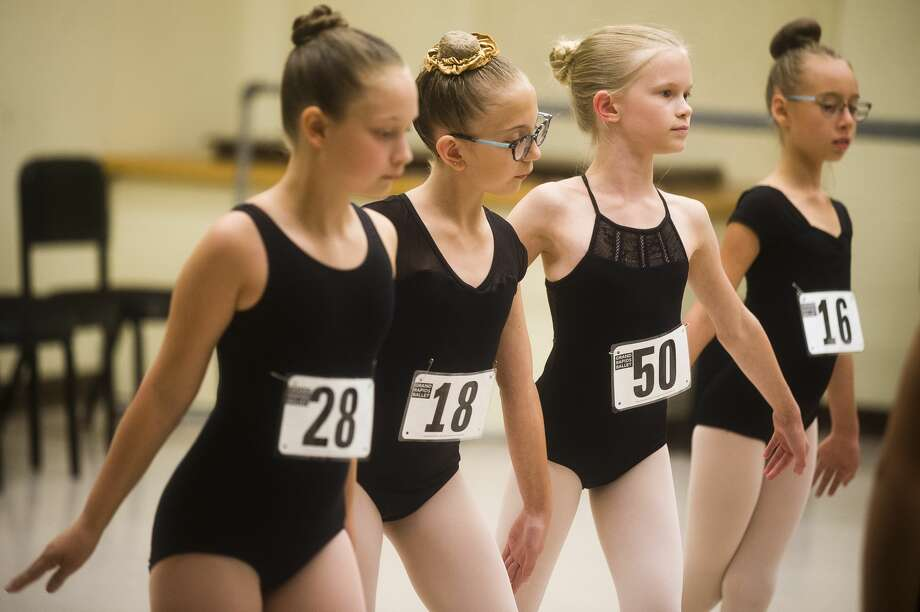 Allie Metzler, 10, second from right, auditions for The Nutcracker at Midland Center for the Arts on Friday, Sept. 14, 2018. (Katy Kildee/kkildee@mdn.net) Photo: (Katy Kildee/kkildee@mdn.net)