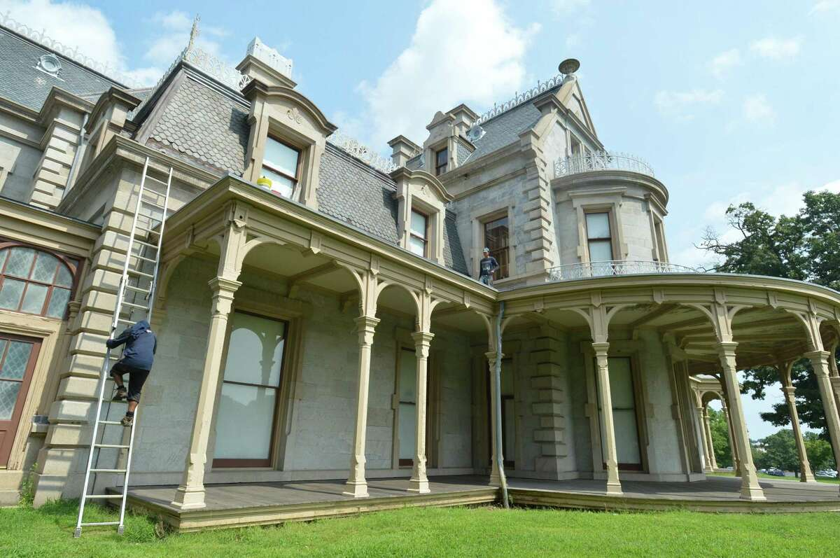 Work continues on construction projects and the roof repairs recently at the Lockwood-Mathews Mansion Museum.