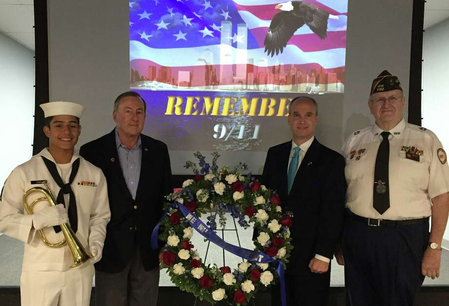 Katy VFW Post 9182 hosted a 9/11 Memorial program in 2018. Participants included, from left, Rene Cano, a U.S. Sea Cadet petty officer, third class; Chuck Brawner, Katy mayor; Mike Schofield, District 132 state representative; and Don Byrne, post commander. Photo: Katy VFW Post 9182 / Katy VFW Post 9182