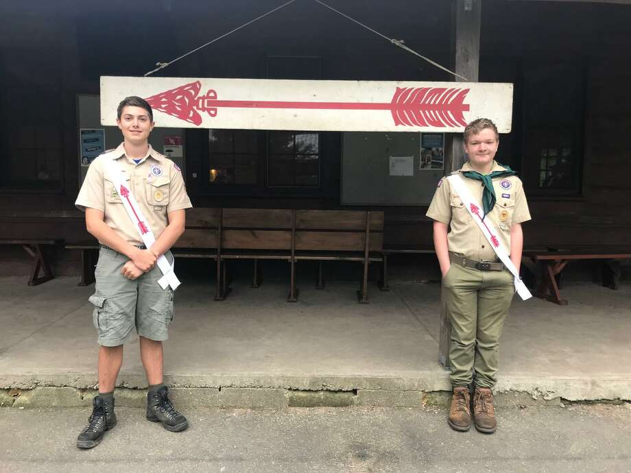 Goshen Boy Scouts Billy Hekeler, left, and Matthew Sefcik, at Camp Mattatuck in Plymouth, after being inducted into the Order of the Arrow. Photo: Contributed Photo / Joe Sefcik /