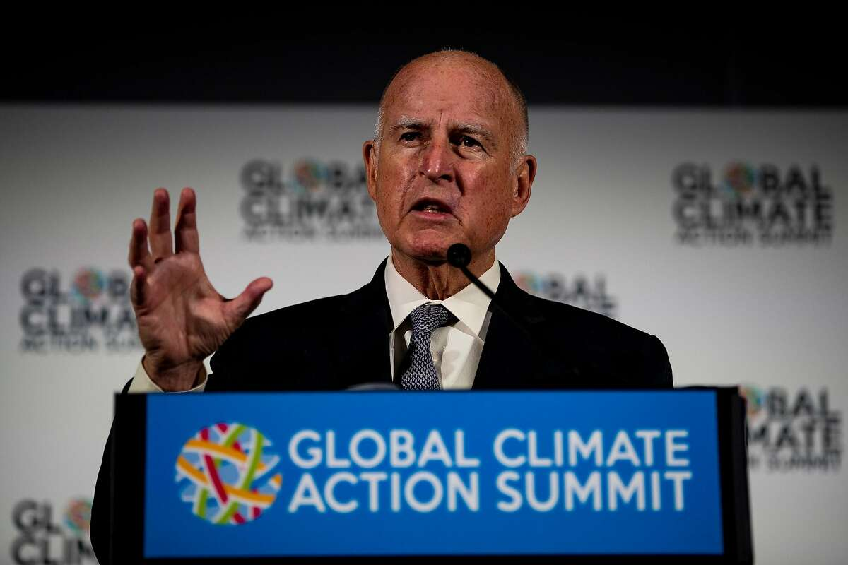 California Gov. Jerry Brown announces how states, cities and businesses are leading the U.S. to a low-carbon future on the first full day of the Global Climate Action Summit at the Moscone Center in San Francisco on September 13, 2018. (Gina Ferazzi/Los AngelesTimes/TNS)