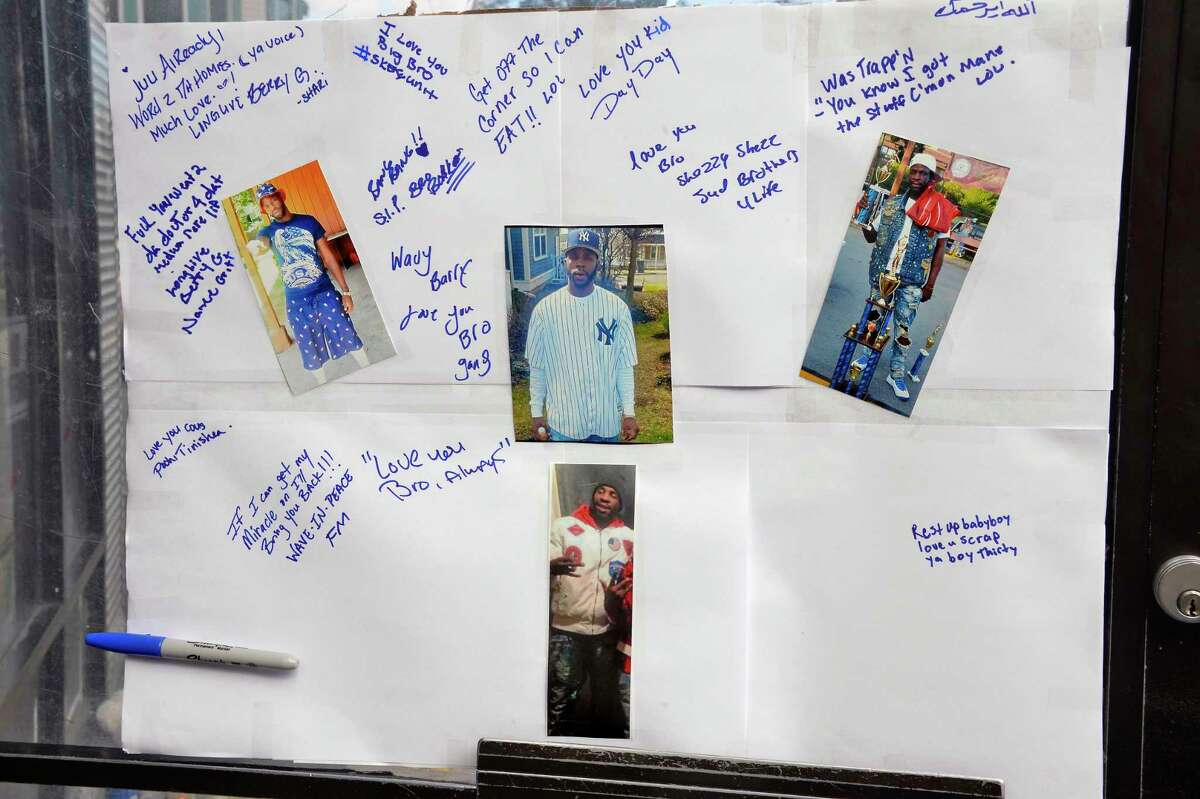 A memorial to Barry Tyce at the corner of Second and Judson streets for the 29-year-old man who died overnight from a gunshot inflicted earlier this week Friday Sept. 14, 2018 in Albany, NY. (John Carl D'Annibale/Times Union)
