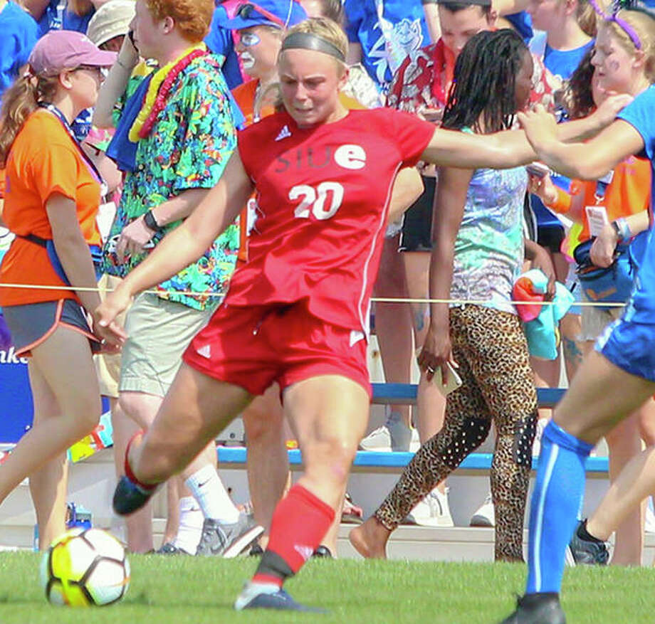 SIUE's Courtney Benning (20) scored a goal in her team's win over Eastern Kentucky Friday.