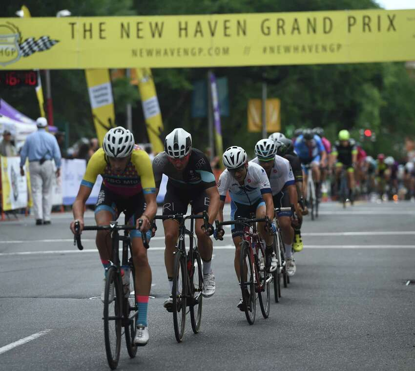 Riders compete in the New Haven Grand Prix in downtown New Haven on September 14, 2018. The twilight bicycle race and street festival will also take place on Saturday September 15th.