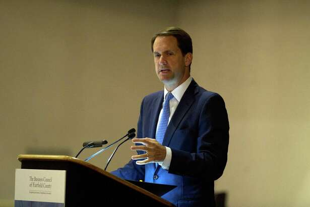 Congressman Jim Himes (D- Conn.) gives the keynote address at the Business Council of Fairfield County's annual meeting inside the Crowne Plaza hotel in Stamford, Conn. on Monday, July 9, 2018.