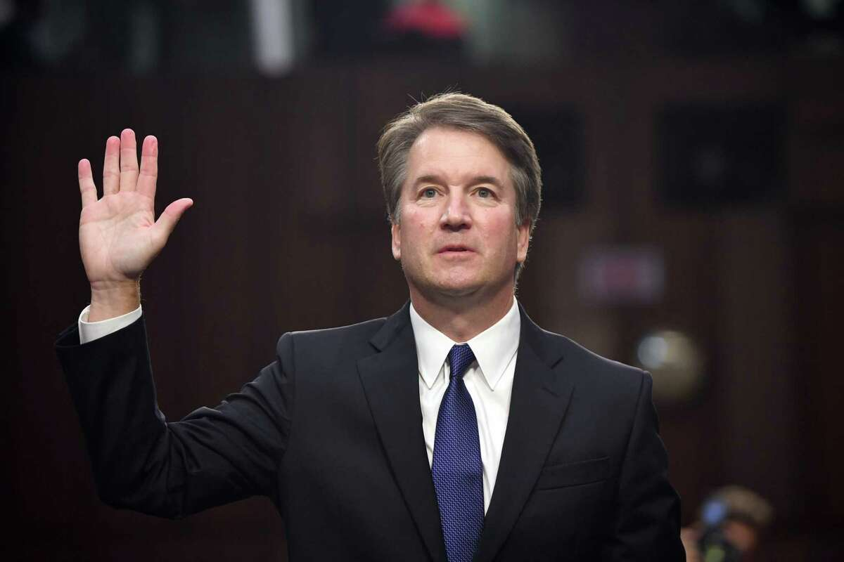 (FILES) In this file photo taken on September 4, 2018 Judge Brett Kavanaugh is sworn in during his US Senate Judiciary Committee confirmation hearing to be an Associate Justice on the US Supreme Court in Washington, DC. - US Senate Republicans beat back Democrats' protests on September 18, 2018, and set a September 20 committee vote for Kavanaugh, who could tilt the high court solidly conservative for years to come. (Photo by SAUL LOEB / AFP)SAUL LOEB/AFP/Getty Images