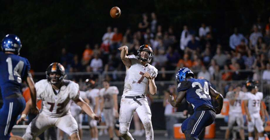 Grant Gunnell (7) of St. Pius X launches a pass in the second quarter of a high school football game between the Episcopal Knights and the St. Pius X Panthers on Friday, September 14, 2018 at Episcopal High School, Bellaire, TX. Photo: Craig Moseley/Staff Photographer