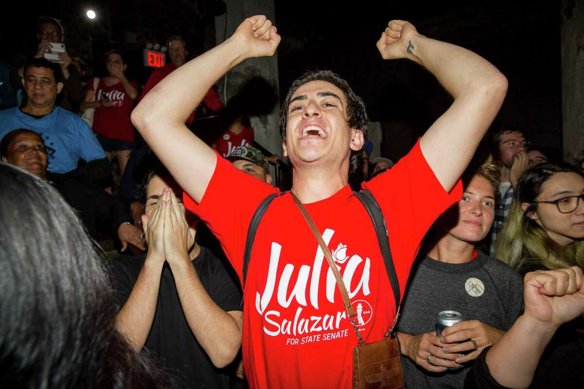 NEW YORK, NY - SEPTEMBER 13: Supporters of the Democratic Socialist candidate Julia Salazar cheer at the sight of election results on the night of the New York State Primary moments before Salazar defeated incumbent Democrat State Senator Marty Dilan on September 13, 2018 in New York City. The controversial candidate overcame questions about her personal history to defeat Dilan, who was running for his ninth term in office. (Photo by Scott Heins/Getty Images)