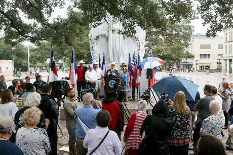 State Rep. Kyle Biedermann, R-Fredericksburg, holds a news conference at the Cenotaph to speak against the current Alamo master plan and to urge officials to include Texas Legislature in the negotiations going forward on Friday, Sept. 14, 2018.