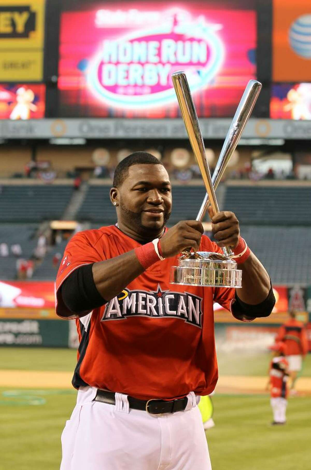 ANAHEIM, CA - JULY 12: American League All-Star David Ortiz #34 of the Boston Red Sox winner of the 2010 State Farm Home Run Derby during All-Star Weekend at Angel Stadium of Anaheim on July 12, 2010 in Anaheim, California. (Photo by Stephen Dunn/Getty Images) *** Local Caption *** David Ortiz