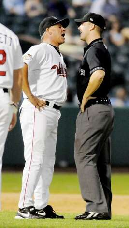 Tri-City ValleyCats manager Jim Pankovits argues with an umpire and is ejected from Monday night's 7-3 loss to New York-Penn League rival Jamestown Jammers at Bruno Stadium in Troy. Pankovits disputed two balk calls, including one that led to a run. (Luanne M. Ferris / Times Union) Photo: LMF
