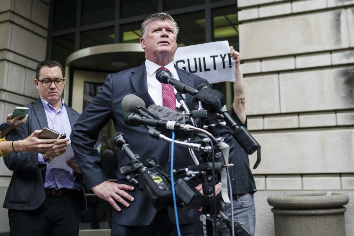 Kevin Downing, lead lawyer for former Donald Trump Campaign Manager Paul Manafort, speaks to members of the media outside of the U.S. District Courthouse in Washington, D.C., U.S., on Friday, Sept. 14, 2018. Special Counsel Robert Mueller's team secured a guilty plea from Manafort and said he's cooperating with the investigation of Russian interference in the 2016 election. Photographer: Zach Gibson/Bloomberg
