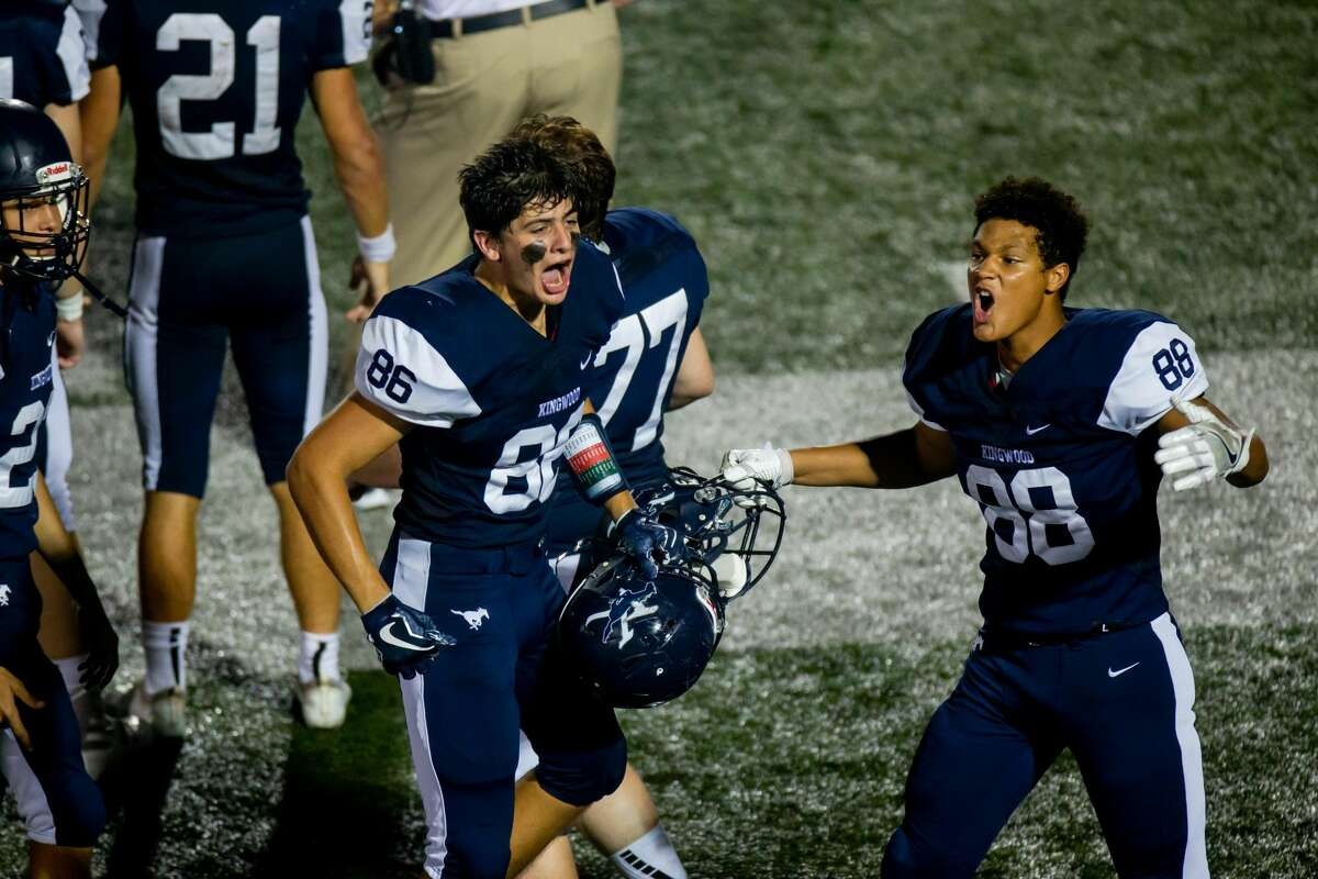 Kingwood players k Hayden Rios (86) and WR Jayden Dye making noise with the fans during the second half of action between Kingwood vs. Atascocita during a high school football game at the George Turner Stadium, Friday, September 14, 2018, in Humble. Atascocita defeated Kingwood 27-20. (Juan DeLeon/Contributor)
