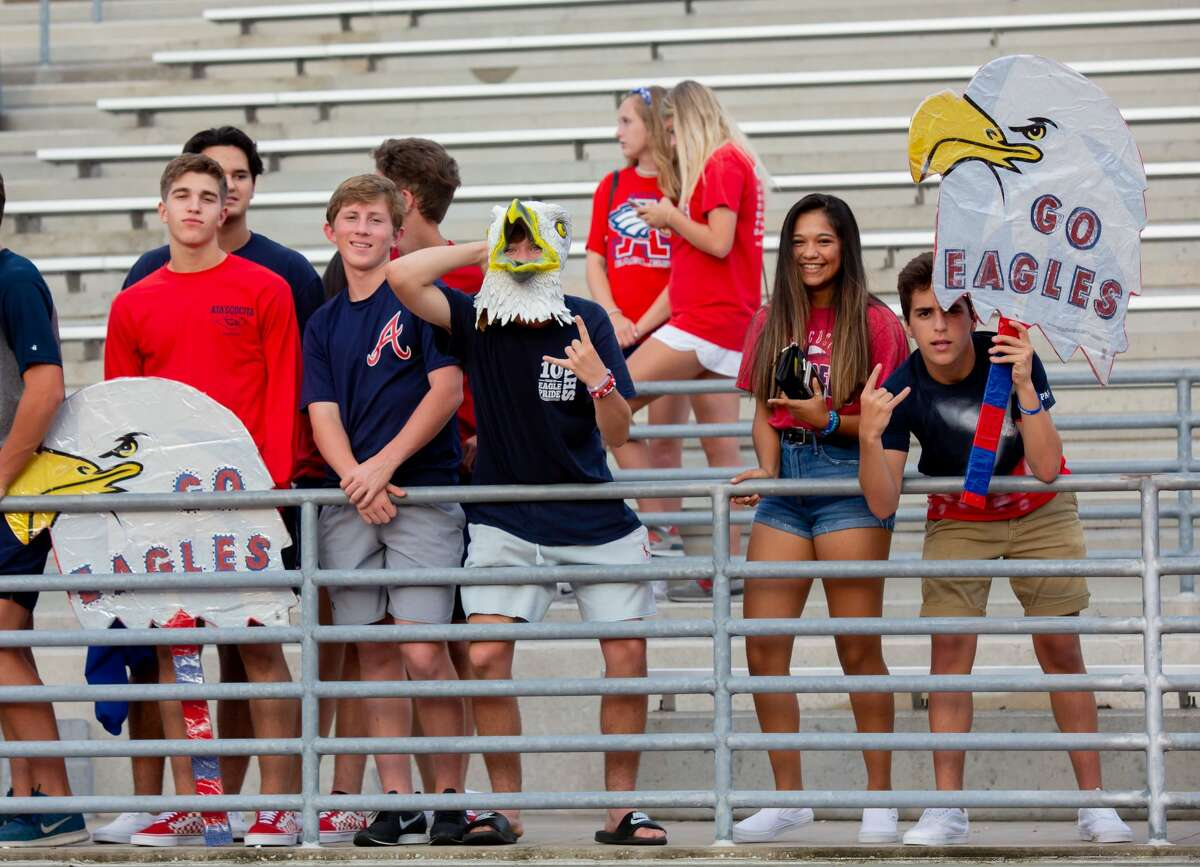 Atascocita students pose for a photo during the first half of action between Kingwood vs. Atascocita during a high school football game at the George Turner Stadium, Friday, September 14, 2018, in Humble. (Juan DeLeon/Contributor)