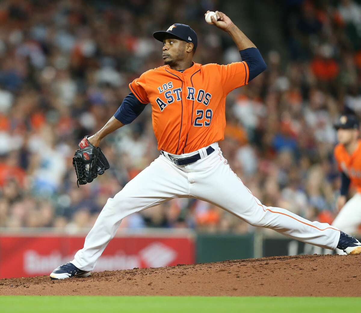 Houston Astros relief pitcher Tony Sipp (29) pitches in the seventh inning against the Arizona Diamondbacks at Minute Maid Park on Friday, Sept. 14, 2018 in Houston.