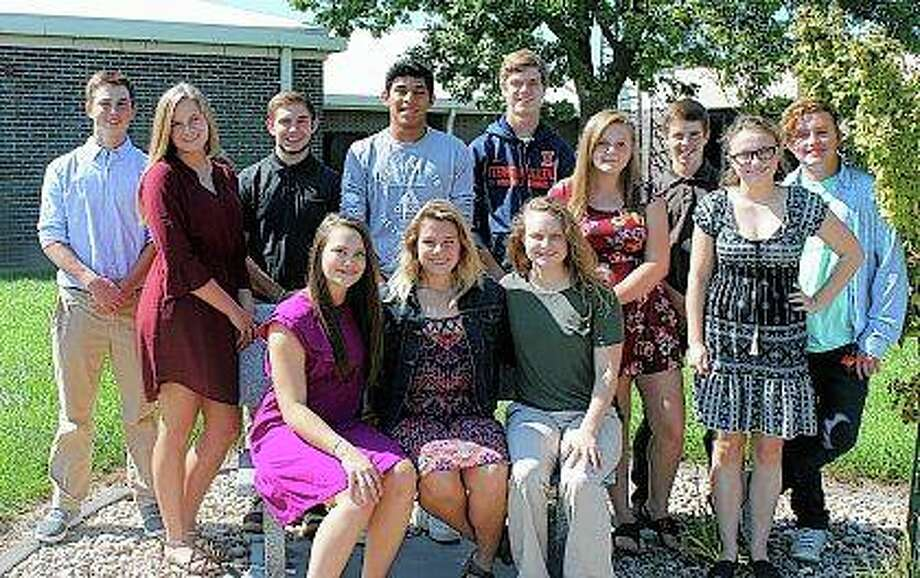 Triopia High School's homecoming court includes Madelynn Ganz (first row, from left), Ashtyn Rouland, Amanda Jacobson, Sam Stanberry (back row, from left), Jayla Waid, Daniel Embley, Hugo Gallegos, Brady Beard, Alizza Gaines, Brayden Booth, Claire Bishop and Max Janes. Photo: Photo Provided