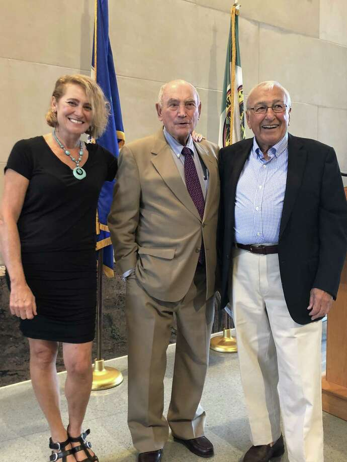 Former Greenwich first selectman John Margenot is joined by his daughter Ann Margenot Gale and longtime friend and Greenwich resident Dick Kriskey at the dedication of the Margenot Atrium at the Greenwich Public Safety Complex on Sept. 8. Photo: Contributed /