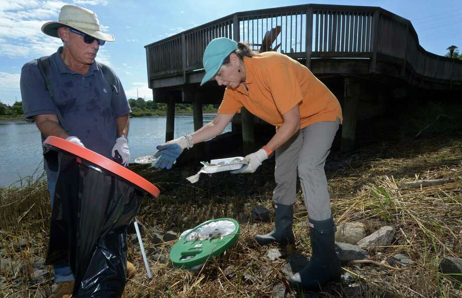 Volunteers including Moses and Jane Alexander of Wilton collect trash along Oyster Shell Parl Saturday, September 15, 2018, as part of the International Coastal Cleanup (ICC) 2018 in Norwalk, Conn. The volunteers weighed the collected, bagged trash, categorized it and will report it the Ocean Conservancy to help them track and eliminate ocean debris as part of the cleanup. Every September for more than 30 years, ICC has motivated over 11.5 million people from around the world to pick up over 210 million pounds of trash from nearly 390,000 miles of shoreline, according to Save the Sound. The cleanup is co-sponsored by NRWA, Woodcock Nature Center, Harbor Watch, Surfrider, Grace Farms, Keep Norwalk Beautiful and The Sheffield Sono. Photo: Erik Trautmann / Hearst Connecticut Media / Norwalk Hour