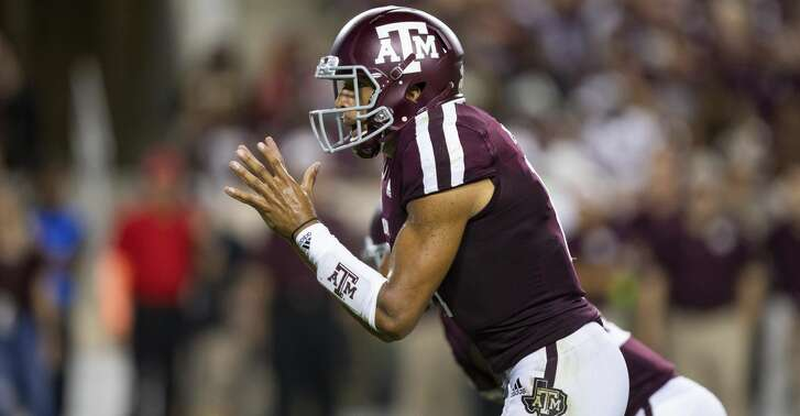 Texas A&M quarterback Kellen Mond (11) calls for the ball against Northwestern State during the first half of an NCAA college football Thursday, Aug. 30, 2018, in College Station, Texas. (AP Photo/Sam Craft)